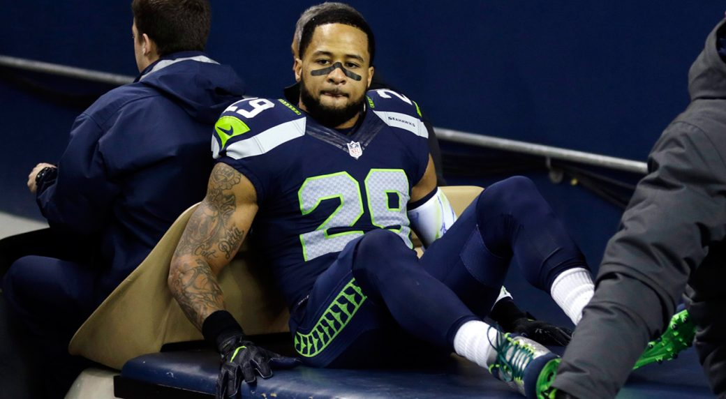 7ef32d59696 Seattle Seahawks  Earl Thomas leaves the field on a cart after being  injured against the Carolina Panthers