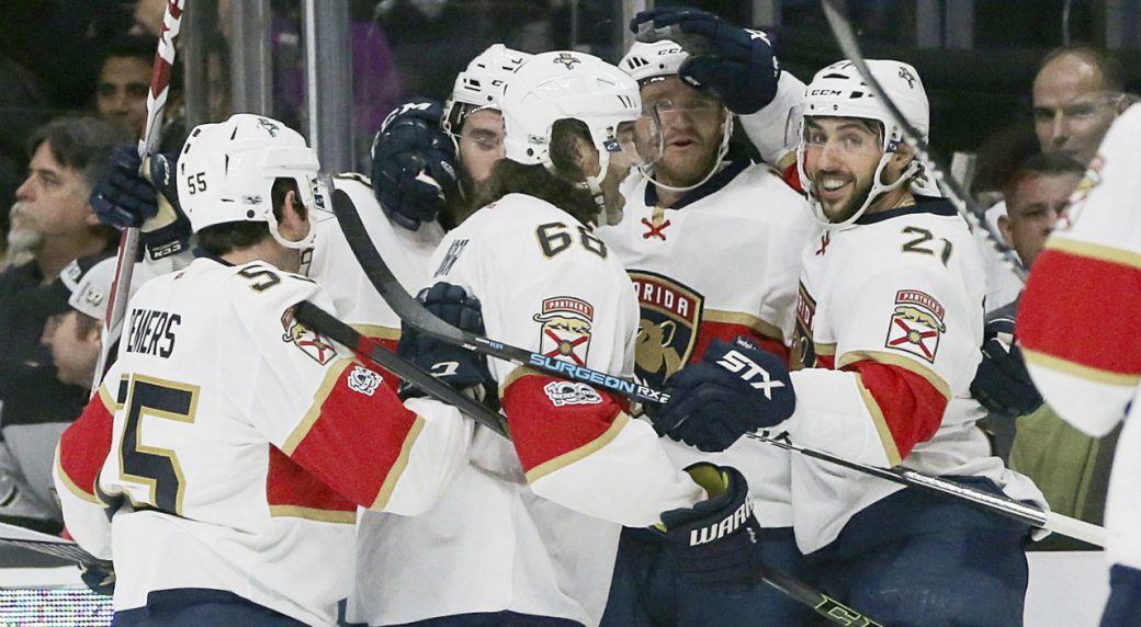 e6c59e0df Florida Panthers celebrate a goal by left-winger Jonathan Huberdeau against  the Los Angeles Kings during the first period of an NHL hockey game in Los  ...