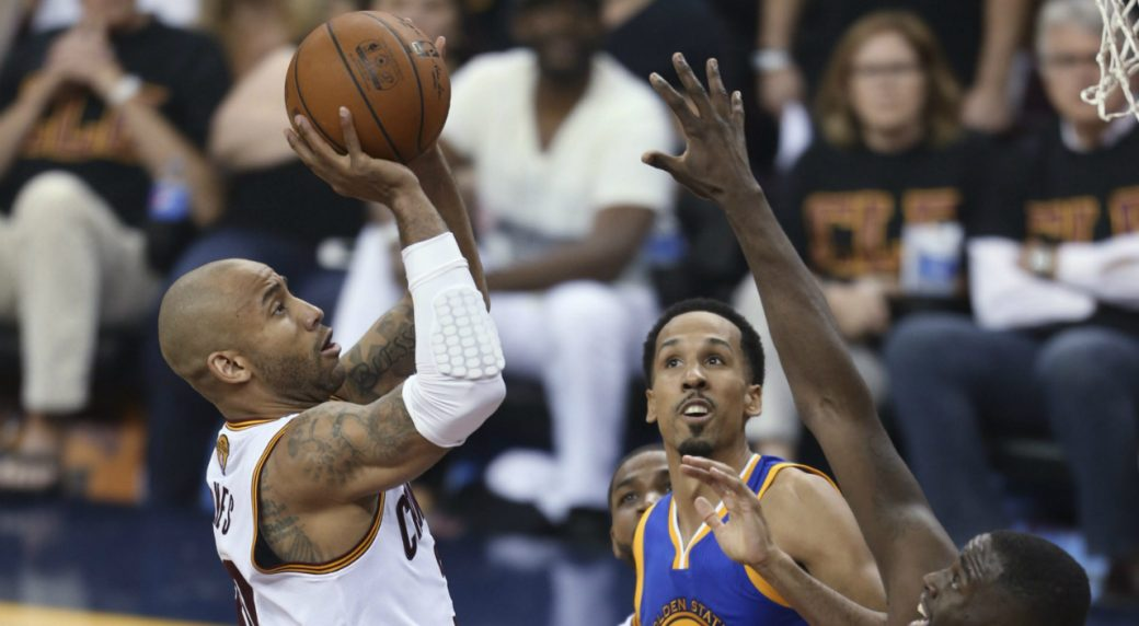 dc4b7aa789f Cleveland Cavaliers guard Dahntay Jones (30) drives on Golden State  Warriors guard Shaun Livingston and Draymond Green during the first half of  Game 6 of ...