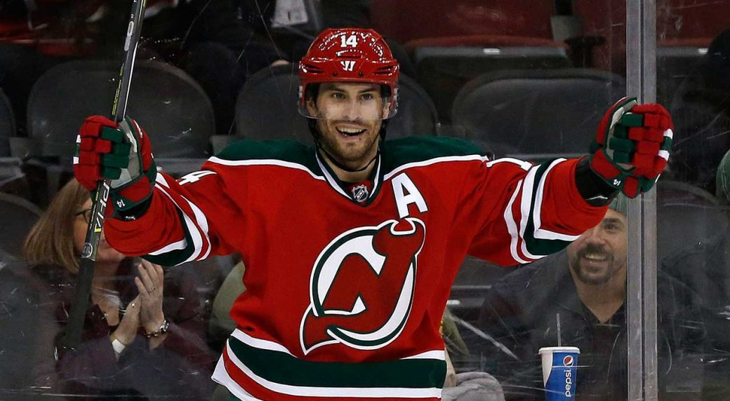 def749ce2 New Jersey Devils forward Adam Henrique may have missed his calling as a  backup goaltender. (Adam Hunger AP)