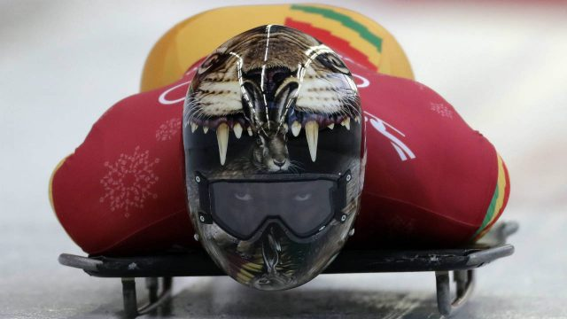 Akwasi-Frimpong-of-Ghana-starts-his-practice-run-during-the-men's-skeleton-training-at-the-2018-Winter-Olympics-in-Pyeongchang,-South-Korea,-Wednesday,-Feb.-14,-2018.-(Wong-Maye-E/AP)