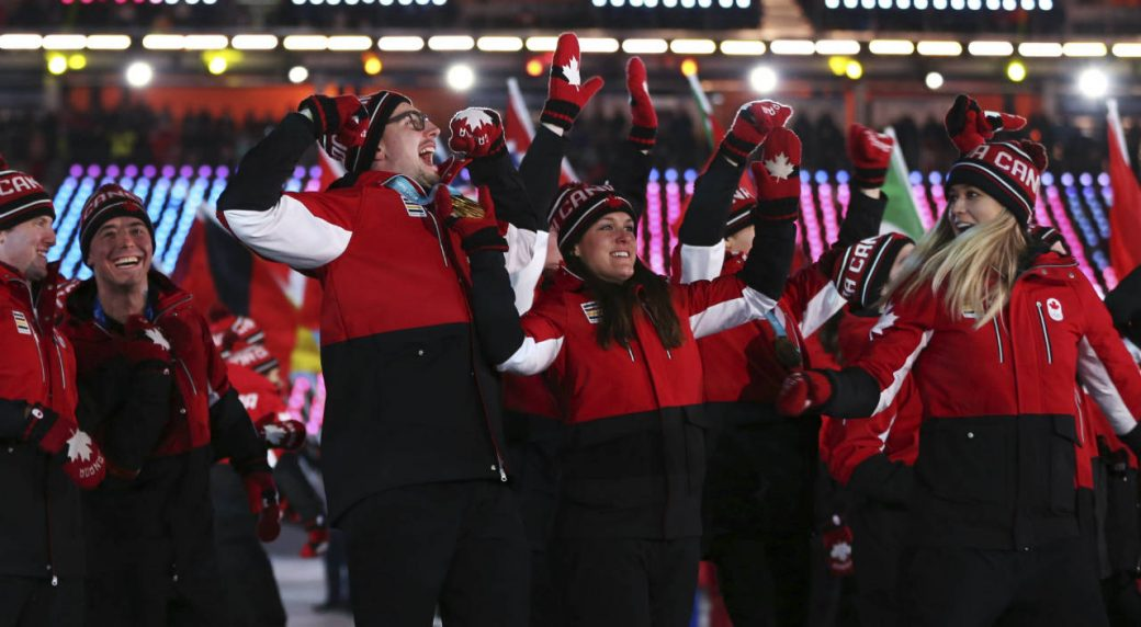 7a07bf827ad Team Canada walks into the stadium during the closing ceremony of the 2018  Winter Olympics in Pyeongchang