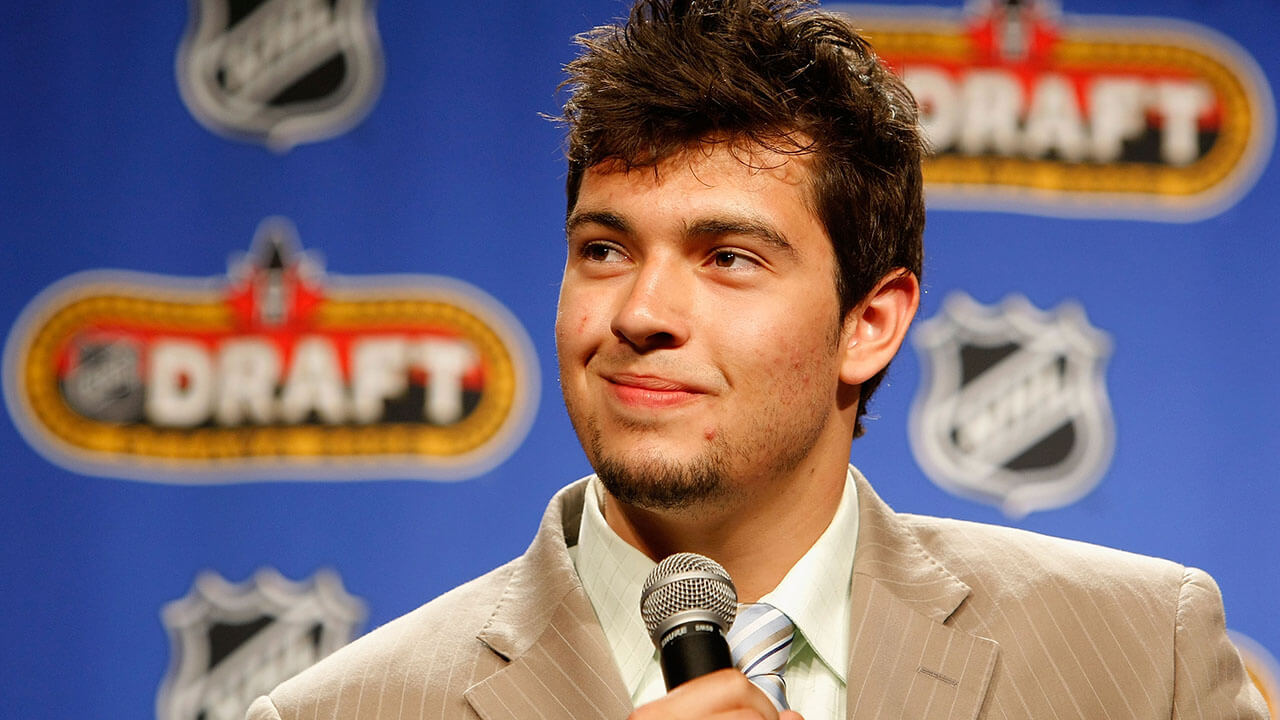 Drew Doughty speaks onstage during the 2008 NHL Entry Draft Top Prospects Media Luncheon