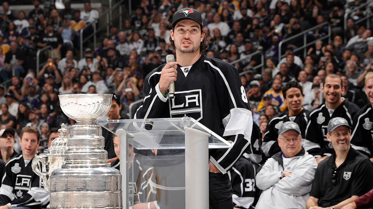 Drew Doughty speaks during the Los Angeles Kings Championship Parade and Rally