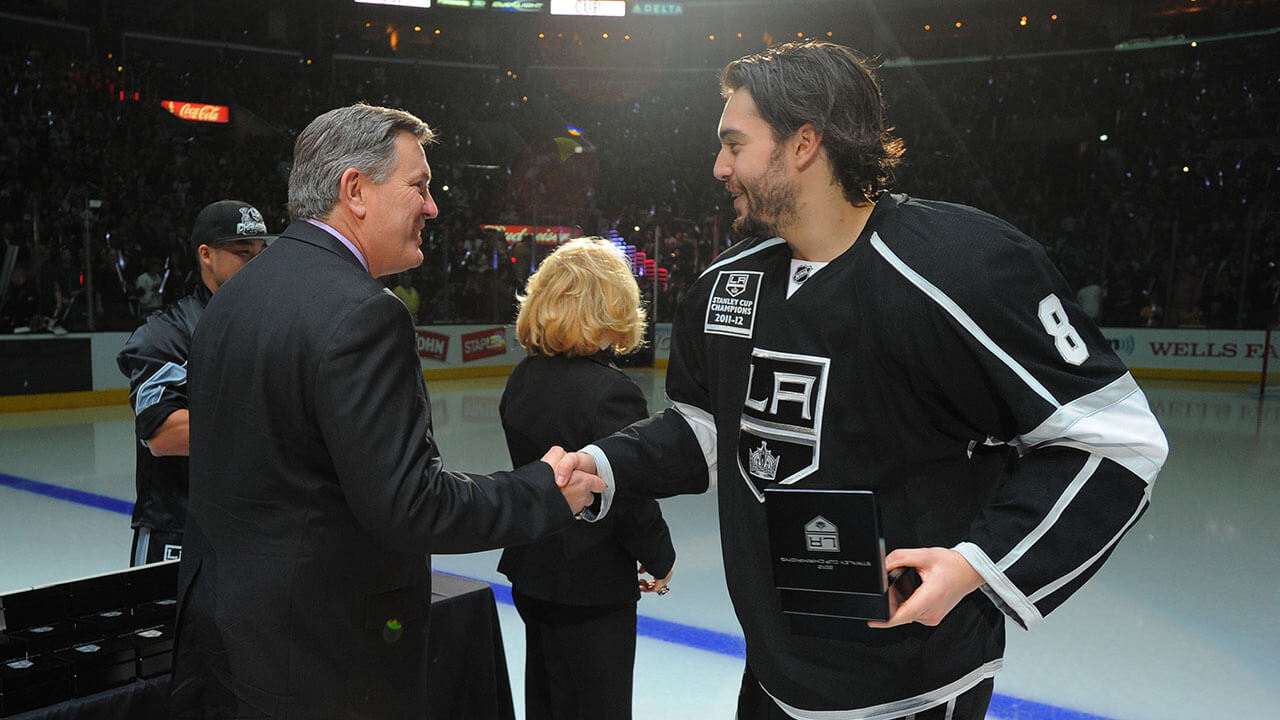 Drew Doughty of the Los Angeles Kings receives his 2011-12 Stanley Cup ring