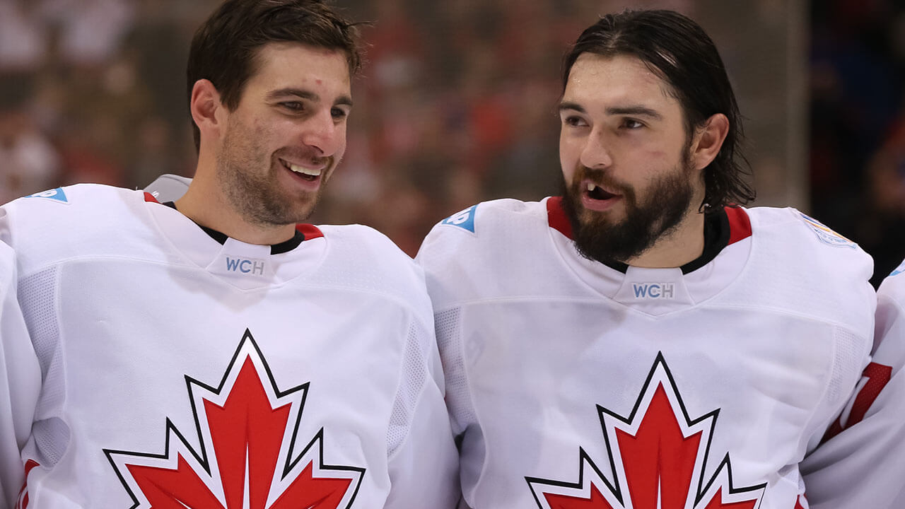John Tavares and Drew Doughty of Team Canada sing their national anthem during the World Cup of Hockey