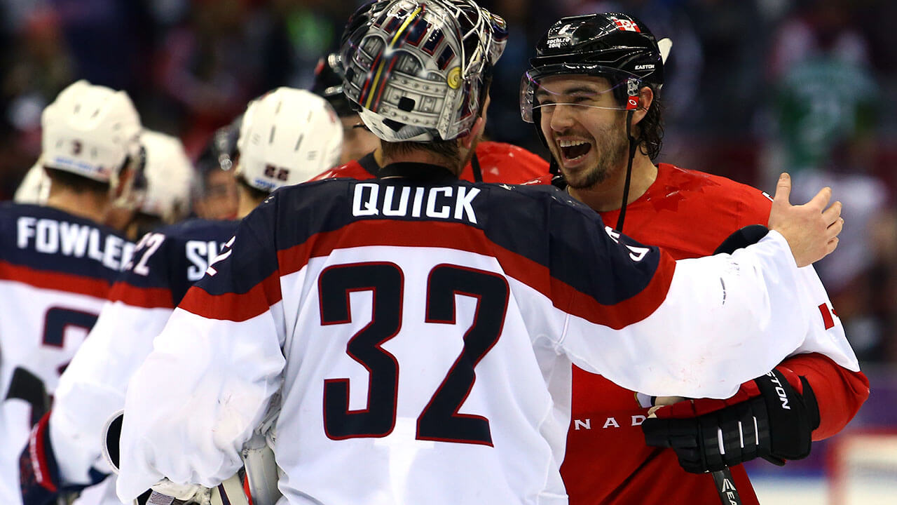 Canada's Drew Doughty shakes hands with Jonathan Quick of the United States after the Men's Ice Hockey Semifinal Playoff on Day 14 of the 2014 Sochi Winter Olympics
