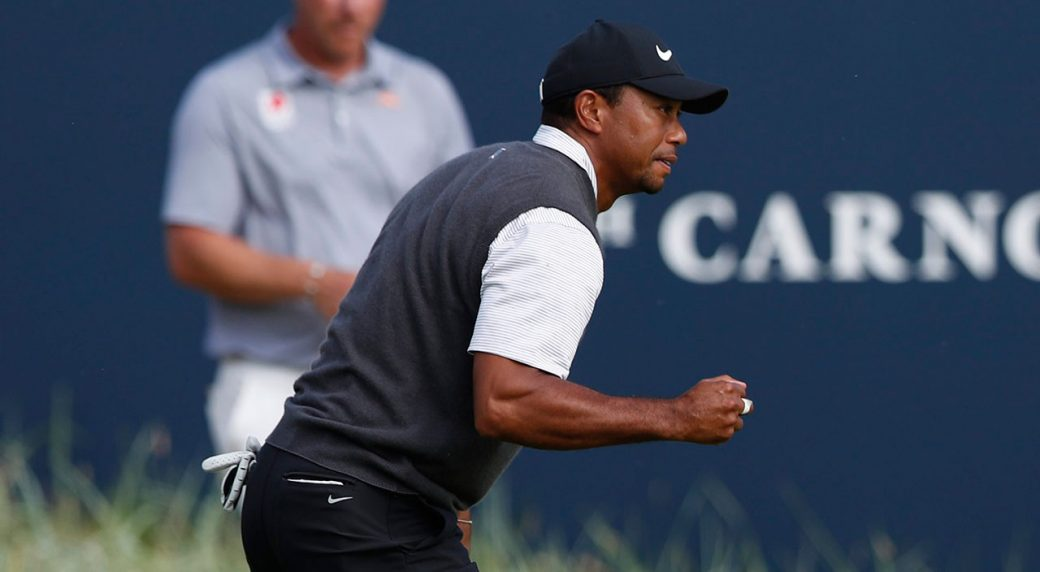 tiger woods creates buzz with 66 at british open