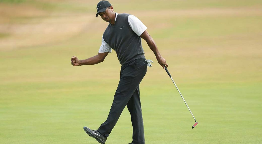 tiger woods shoots up leaderboard at british open
