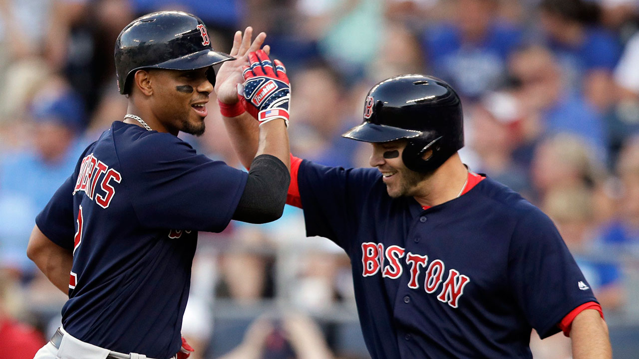 Xander_bogaerts_is_congratulated_by_steve_pearce