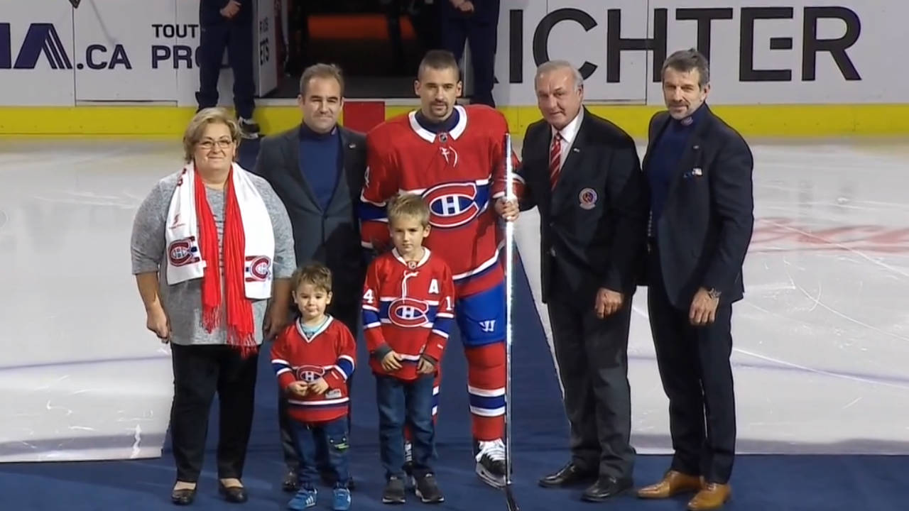 Canadiens honour Tomas Plekanec; Bergevin, Molson wear turtlenecks