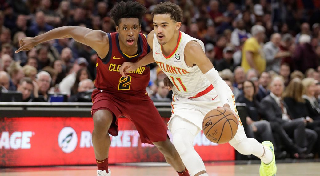 3d2977ad9df7 Atlanta Hawks  Trae Young (11) drives past Cleveland Cavaliers  Collin  Sexton (2) in the second half of an NBA basketball game