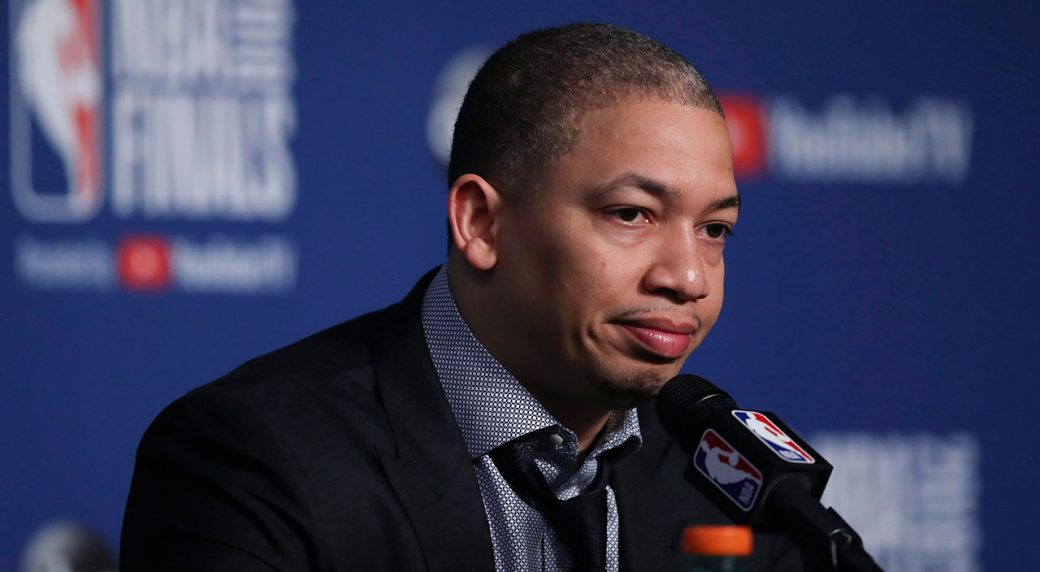 Cleveland Cavaliers coach Tyronn Lue speaks during a news conference  following Game 4 of basketball s NBA Finals against the Golden State  Warriors 8e1b66b2e