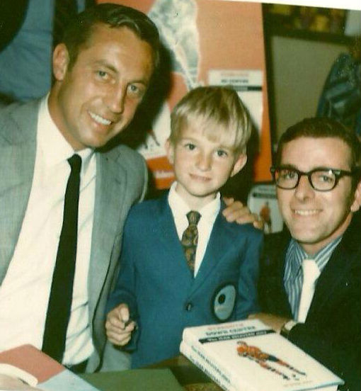 Sportsnet Executive Producer, NHL Special Events Joel Darling (centre) with his father Ted (R) and Montreal Canadiens great Jean Beliveau. Ted was Hockey Night in Canada's Montreal intermission host in the 1960s. Joel's mother made the blazer for him. (Photo: Joel Darling)