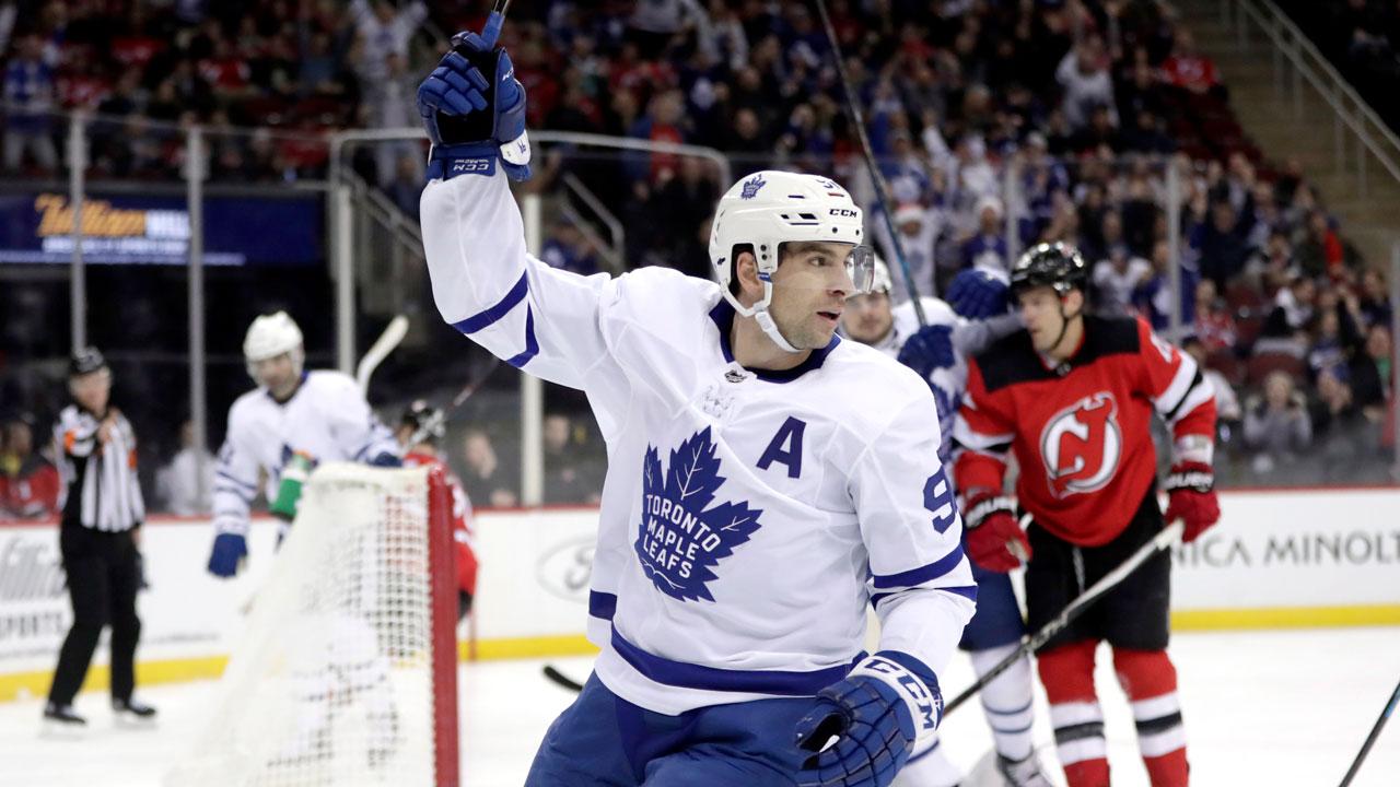 Tavares, Matthews, Marleau score in first, Leafs rout Devils