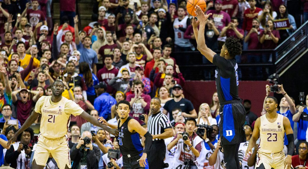 0fc27cbc66a5 Duke forward Cam Reddish takes the game-winning shot against Florida State  with less than a second left in an NCAA college game in Tallahassee