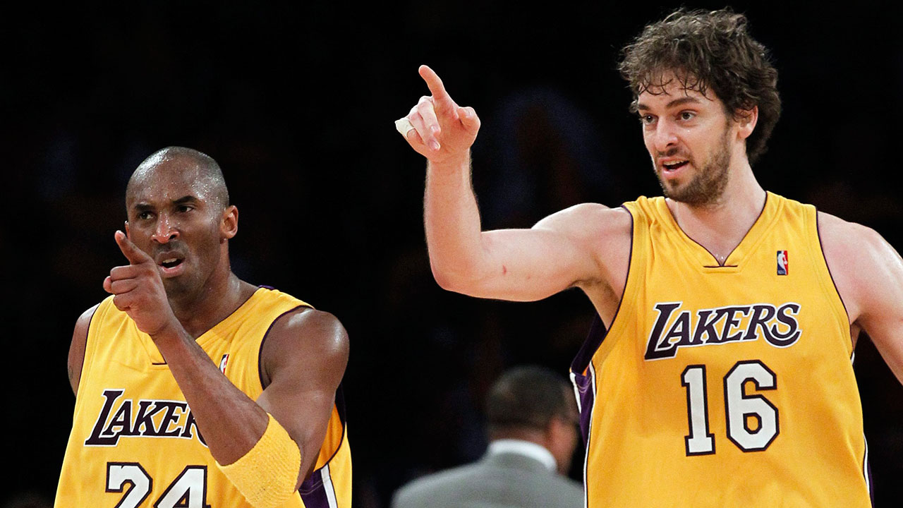 Los Angeles Lakers guard Kobe Bryant and forward Pau Gasol