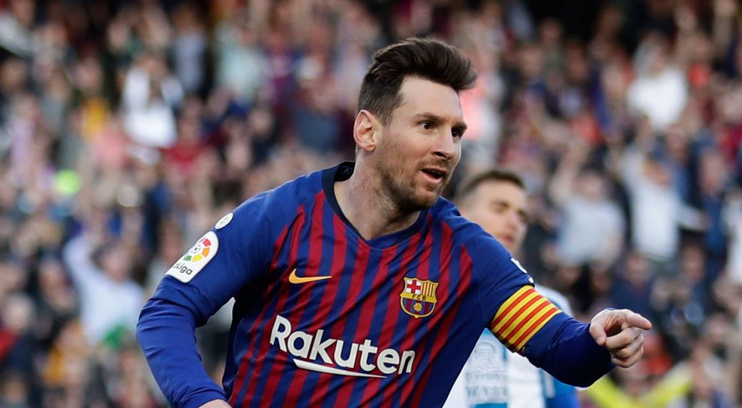 9da80c1c7 Barcelona s Lionel Messi celebrates after scoring his side s second goal  during a Spanish La Liga soccer match between FC Barcelona and Espanyol at  the Camp ...